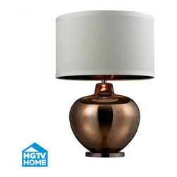 Dimond - One Light Bronze Plated Glass With Coffee Plated Base  Table Lamp - One Light Bronze Plated Glass With Coffee Plated Base  Table Lamp