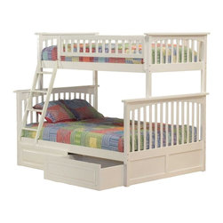 Columbia Bunk Bed in White - Constructed in solid eco-friendly hardwood, in four high build durable finishes, the Columbia bunk bed has a built in modesty panel and can accommodate under bed storage drawers or a trundle.