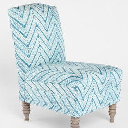 Chevron Slipper Chair - Simple slipper chairs are great for just about any room. This one has an endearing turquoise chevron zigzag that almost reminds me of water.