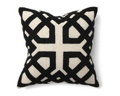 Silver Nest - Cutting Corners Down Pillow - Black and White. 100% LINEN Applique - 70% wool / 30% nylon. Set of two pillow covers with hidden zippers. Feather inserts included. Inserts are 95/5. Priced individually, must be sold as set of 2.