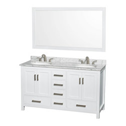 "Wyndham Collection - Wyndham Sheffield 60"" Double White, White Carrera Marble, Oval Sink - Wyndham Collection®"