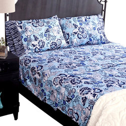 koi Design - Jazzy Sheet Set - Brightly modern floral bedding will help turn your bedroom into a stylish sanctuary. Positively luxurious, 300-thread count, cotton sateen sheets in such lovely shades of blue will make you want to hit the snooze button every morning.