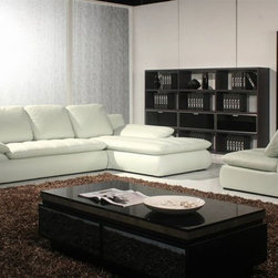 Sophisticated Quality Leather L-shape Sectional - Modern design