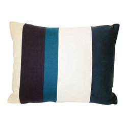 Acapillow - Pieced Stripe Pillow - Striped in serene shades and filled with luxurious down feathers, this pillow is the ultimate in cozy cool. Pieced together from an assortment of fabrics, it's the perfect piece to showcase your impeccable style.