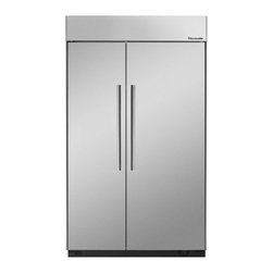 Thermador - 48 inch Built-In Side-by-Side T48BR810NS - We put convenience first when we designed our side-by-side refrigerators. With fully-adjustable glass shelves and easy electronic control, all of our side-by-sides can be ordered with an optional ice and water dispenser.