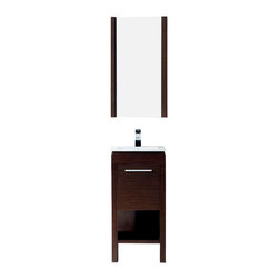 Vigo - Vigo 16-inch Aristo Single Bathroom Vanity with Mirror - Vigo Aristo is a modern and sophisticated vanity that includes shelving, deep cabinet with swinging door, a wood-rimmed mirror, and a white ceramic single-hole sink. This freestanding vanity has the following features: