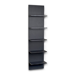 Danya B. - BlackGrain Finish Wide Column Wall Book Shelf - This stylish shelf is one long, tall drink of water. With five shelves and a matte black backdrop, the unit is narrow enough to fit into smaller spaces and look fabulous in doing so. Perfect for minimalist flats and modern homes alike, you can use this shelf to store your favorite books, accessories and collectibles.