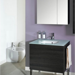 Iotti - 32 Inch Bathroom Vanity Set - A truly modern vanity set with a white glass top, inset sink, full sized vanity cabinet and medicine cabinet with offset mirrored doors that will give long lasting performance and has eye catching looks. Available in waterproof Glossy White, Wenge, Gray Oak and Natural Oak finishes. There's plenty of storage in the two push-to-open drawers and both shelves of the medicine cabinet. The mirrored medicine cabinet doors are scratch and corrosion resistant. Made in Italy. Set Includes: . Vanity Cabinet (2 drawers). Fitted ceramic sink with glass top (31.5 inch ). Medicine Cabinet (30.9 inch x 27.7 inch x 5.7 inch ). Vanity Light (11.8 inch ). Vanity Set Features:. Vanity cabinet made of engineered wood. Cabinet features waterproof panels and push to open drawers. Available in Gray Oak (as shown), Glossy White, Natural Oak, Wenge. Cabinet features 2 drawers. Faucet not included. Perfect for modern bathrooms. Made and designed in Italy. Includes manufacturer 5 year warranty.