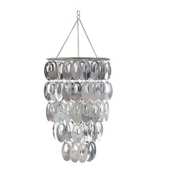 "WallPops - Posh Chandelier - The Posh chandelier is most definitely mod! Three-tiers of silver metallic orb shapes will create a ""WOW"" effect in any room! Decorate your walls with WallPops and then add the finishing touch with a WallPops chandelier! The Posh Chandelier does not include a lighting fixture or cord set, but does fit over a standard lantern bulb and cord, not to exceed 40 watts. This chandelier is 14 1/8"" in diameter and 33 1/2"" high. Imported."