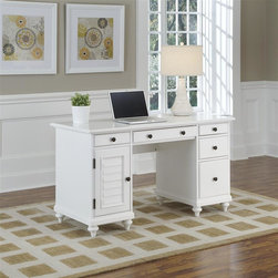 HomeStyles - Brushed White Pedestal Desk - Inspired by the fusion of British colonial and old world tropical design, the Bermuda Student Desk and Hutch highlights poplar solids and engineered wood in a designer hand-applied visible brushed stroke white finish. Further inspiration can be found in the shutter style designs and turned legs. Bounteous storage is provided with three storage drawers, one drop-down front drawer which can be used as a keyboard tray, one large file drawer, and storage door. The storage door opens to reveal a PC tower storage area with a removable shelf. Other features include cable access openings and antique brass hardware. 54 in. W x 24 in. D x 30.5 in. H