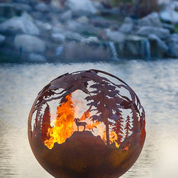 """High Mountain 37"""" Steel Fire Pit Sphere with Flat Steel Base - Nick Cool: Image Works Photographic"""