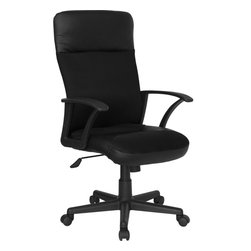 Flash Furniture - Flash Furniture High Back Leather / Mesh Combination Swivel Office Chair - This value priced mesh office task chair will accommodate your essential needs for your home or office. Chair features a breathable mesh back with a comfortably padded leather seat. Chair is height adjustable to conform to several desk sizes. [CP-A142A01-GG]