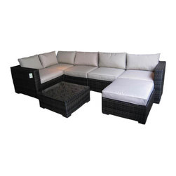 Kontiki - Kontiki Conversation Sets - Wicker Sectional Sets - [1.0 set/set]   Kontiki assembled patio furniture sets are made from all-weather resin wicker and produced to fulfill your needs for high quality. Unlike many other wicker products on the market, resin wicker will not fade, shrink, loose its strength or snap. Another advantage of this material is its high resistance against sunlight and water. It has especially been improved to withstand North American weather.    The aluminum is lightweight and rust-free. The cushions that come with the patio sets underline the elegance of all Kontiki patio furniture while providing permanent comfort. The cushions come with covers that are specially treated with liquid resistant coatings and are hand washable.    Due to the high quality materials used, Kontiki patio furniture sets can be left outside in any weather or season, although it is recommended to cover the furniture in the winter months. Each and every piece is checked to ensure quality standards are met. It is ideal for both domestic and commercial use. All patio sets come with a two year warranty, although, the expected life of Kontiki Patio Furniture sets before they start losing the original look is 7-8 years.