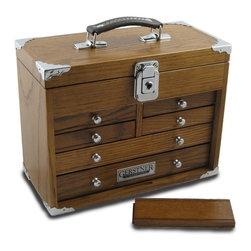 Gerstner International GI-511 - Tool Chest – Gerstner GI-511 Mini-Max Chest With Top Handle - Features 6 drawers, 4 half-width and 2 full width, and a leather top handle.