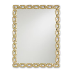 Currey & Co - Currey & Co 1082 Betty June Dusky Brass Mirror - The Currey & Co 1082 Betty June Dusky Brass Mirror, designed by Marjorie Skouras, offers charm with a touch of classic Hollywood glamour. The look was inspired by a bracelet that Marjorie received from her grandmother, Betty. The finish is Dusky Brass, and it is a wonderful complement to any of the tables in the same collection. It measures 28 inches high by 21 inches wide.
