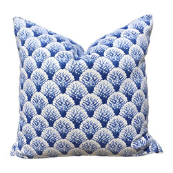 """PillowFever - Blue and White Cotton Pillow Cover With Corral Print, 19""""x19"""" - This beautiful cotton pillow cover has corral print on aegean blue background. Main colors are: white, aegean blue."""