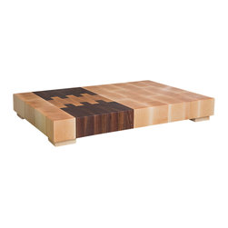 "Deoria Made - Deoria Made - ""The Southwest Block"" Cutting Board, Large Rectangle - Deoria Made - The Northwest and Deoria Made - The Southwest: two regions of the United States forced to endure adverse climate conditions. The Southwest, a bone dry desert with little annual rainfall, and the Northwest, conversely, a wet landscape pickled with year round rainfall. The plants, people, and animals that inhabit these landscapes have evolved to endure the climates, which they inhabit.  As with all Deoria Made blocks, The Northwest and The Southwest are created to endure, and echo the spirit of these two persistent regions. The thickness of the block, the use of end-grain on the face of the block, the use of beeswax to repel moisture, and the firmly planted rubber feet that raise the board off counter and away from moisture are all qualities that ensure your block endures like the Northwest and Southwest do."