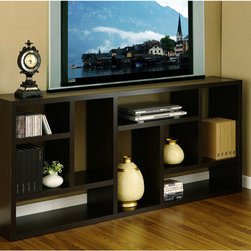 Furniture of America - Furniture of America Multi-Purpose 3-in-1 Display Cabinet/ TV Stand/ Bookcase - Clean up your home and save space with black satin finished wood veneer three-in-one display cabinet, TV stand, and bookcase. This modern piece of furniture has nine compartments that vary in width and length. It measures 71' x 31' x 11'.
