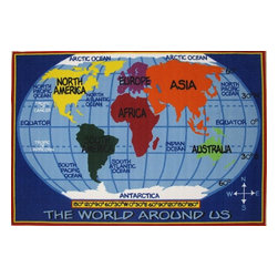 Fun Rugs - Fun Time - Kids World Map Kids Rugs - 63 x 90 in. - Your child's room is a natural extension of them. Add these innovative designs to spruce up any child's decor.