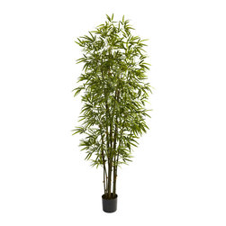 Nearly Natural - 7' Green Bamboo Tree - Turn any room into a forest with this grand Bamboo tree. Standing a full 84' in height (that's seven feet tall, folks), this beauty has 10 trunks and more than 2200 individual leaves, giving it a full, healthy appearance that will endure, without water or sun. This is a piece of decor for areas that need something big and bold, so it's ideal for both home and office. Makes a great housewarming (or other occasion) gift as well.