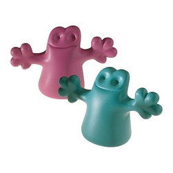 "Alessi - Alessi ""Carlo"" Bottle Stoppers, Light Blue/Pink - A set of two stoppers in thermoplastic resin, Carlo is a little ghost on the top of a bottle."