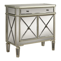 Powell - Powell Mirrored 1 Drawer / 2 Door Console X-822-332 - The Mirrored Console is the perfect compliment to your home. Featuring one drawer and two doors, this piece provides ample storage space with an interior, fixed shelving unit. The grey wood and mirror surfaces are highly adaptable to any homes decor. The unique details are eye catching, enduring, and are sure to enhance any space. Fully assembled.