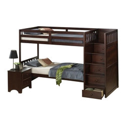 """CBIreneStepbunk - Irene Merlot Finish Wood Twin Over Twin Step Bunk Bed - Irene Merlot finish wood twin over twin step bunk bed. This set features a Set of stairs a the end of the bunk with storage drawers. bed measures 101"""" x 42"""" x 64"""" H. Some assembly required."""