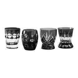 IMPERIAL COURT, INC. - Peter The Great Vodka Set Set Of 4 In Black Crystal - Mouth-blown and hand-cut cased crystal vodka shots.  Set of four assorted designs glasses in burgundy velvet gift box.