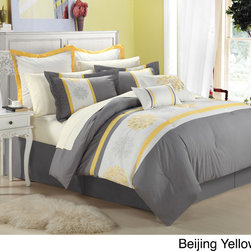 None - Beijing 8-piece Comforter Set - Redecorate your bedroom with this eight-piece comforter set. This set features woven fabric detailing and a distinctive embroidered leaf motif. Constructed from double-brushed microfiber fabric, this set is sure to last through many seasons.