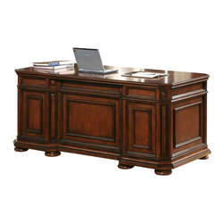 Riverside Furniture - Riverside Furniture Cantata Executive Desk - Riverside Furniture - Computer Desks - 4932 - For those who desire to be a cut above the rest the Cantata Executive Desk promises superior craftsmanship and state-of-the-art innovation for the businessman of today. Made from premium quality poplar hardwood with cherry and birch veneers this truly unique desk hosts a variety of features most noteworthy of which are dovetail joined drawers on ball-bearing full-extension guides for exceptional durability wiring access holes to accommodate your office equipment and gadgets and base levelers to ensure that your uneven floors are not a problem. Distinguish yourself from the rest with the Cantata Executive Desk. The Cantata Home Office Collection features is an ode to the furniture of the Italian Renaissance. This collection blends antique style and modern innovation to create a unique piece of art which is unnaturally casual. The pieces in this ensemble are made of premium quality poplar the same wood on which the Mona Lisa and other famous early renaissance Italian paintings were crafted and is accentuated with cherry and birch veneers to create this truly inspired collection which will surely be the highlight of your home office.