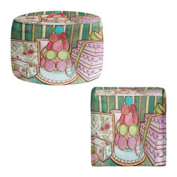 DiaNoche Designs - Ottoman Foot Stool by Diana Evans - Laduree Window Shopping II - Lightweight, artistic, bean bag style Ottomans.  Coming in 2 squares sizes and 1 round, you now have a unique place put rest your legs or tush after a long day!. Artist print on all sides. Dye Sublimation printing adheres the ink to the material for long life and durability. Printed top, khaki colored bottom, Machine Washable, Product may vary slightly from image.