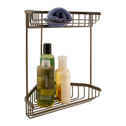 Two Tier Corner Shower Basket - Make the most of your shower space with this double shower basket designed to fit in a corner. Made of solid brass to withstand the water in a shower.