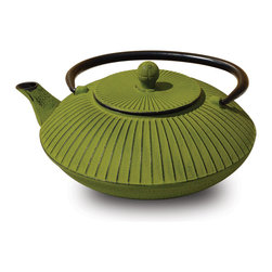 "Moss Green Cast Iron ""Fidelity"" Teapot, 27 Oz. - Unity®  Cast Iron ""Fidelity"" Teapot – Moss Green finish. Graceful, elegant cast iron Tetsubin teapot crafted in the Japanese style.  Inspired by highly prized antique Japanese cast iron teapots still in use today. Features a black enamel interior coating that helps prevent rust Includes a stainless steel tea brewing basket for ease of preparation.  For brewing and serving tea. Not intended for stovetop use. 27 oz. capacity Hand Wash"