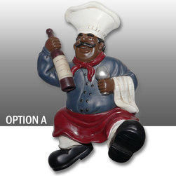 Black Chef Kitchen Wall Figurine Towel Hanger Art Decor Option A - Beautiful Black Chef Table Figure Kitchen Decor.