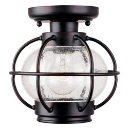 Joshua Marshal - One Light Oil Rubbed Bronze Seedy Glass Outdoor Semi-Flush Mount - One Light Oil Rubbed Bronze Seedy Glass Outdoor Semi-Flush Mount