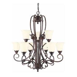 Savoy House - Savoy House GZ-1-2888-9 Wrought Iron 9 Light Up Lighting Chandelier Bra - Nine light chandelierFeatures Cream Scavo GlassRequires nine 100w medium base bulbs