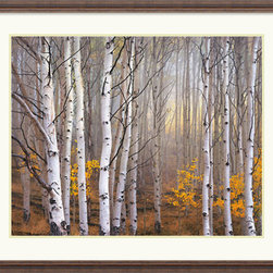 Amanti Art - Aspen in Fog Framed Print by Charles Cramer - Even though you're sitting in your living room, you can almost hear the crackle of the twigs beneath your feet and smell the wood smoke in the air when you gaze at this serene forest print. Photographer Charles Cramer manages to capture the silent beauty in its entirety.