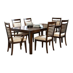 Standard Furniture - Standard Furniture Avion 8-Piece Dining Room Set in Cherry - Avion Dining has smooth transitional styling that gives it great decor versatility and ensures broad and long lasting appeal.