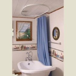 Claw foot tub shower cutain-Bendable Curtain Rod - This is a strong and durable rod for a shower or tub where the curtain can move freely & easily along the rod.  This unique rod is bendable and is for use in corner shower, round, claw foot tub, privacy screen , RV shower and any place that you want to add some pizazz to. The track is continuous so the sliders glide effortlessly without interference or falling out.  The rod is made out of resin with steel interior and is a perfect solution for damp spaces like bathrooms.