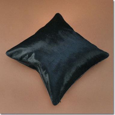 Cowhide Pillow: Black - Black Cowhide Pillow