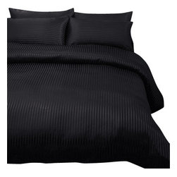 SCALA - 1000Tc Stripe King Size Black Color Sheet Set - We offer supreme quality Egyptian Cotton bed linens with exclusive Italian Finishing. These soft, smooth and silky high quality and durable bed linens come to you at a very low price as these come directly from the manufacturer. We offer Italian finish on Egyptian cotton, which makes this product truly exclusive, and owner's pride. It's an experience and without it you are truly missing the luxury and comfort!!