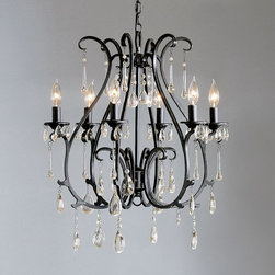 Celeste Crystal Chandelier, Blackened Finish - I always love when rustic meets elegant. The beautiful antique bronze finish of this chandelier paired with the crystal drops makes for a spectacular combination.