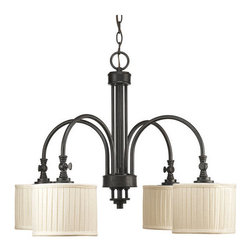 Thomasville Lighting - Thomasville Lighting P4421-84 Clayton 4 Light 1 Tier Chandelier - Thomasville Lighting P4421-84 Four Light Clayton Single Tier ChandelierHighlighted by modern drum shades in cream linen fabric with soft side pleats and finished in Espresso, this traditionally rooted design is where classic vintage styling meets minimalistic lines. Add a touch of modern elegance to your home with this versatile four light chandelier.Classic vintage styling meets minimalist design. Clayton highlights a fresh look using arching arms, drum shades in a clean linen fabric and Espresso finish. Also features adjustable turnkey for customized shade directions.Thomasville Lighting P4421-84 Features: