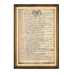 French Chateau Log, Mid 18th Century K Framed Giclee - The date at the top of the page reminds viewers of the French Chateau Log art print that it is taken from original ephemera of the eighteenth century, while the hand-written lines and the crest stamped askew at the top of the page lend an intimate glimpse into the past.  The ruffled corners of often-turned pages are preserved in this art print, which is coordinated by its speckled double frame.