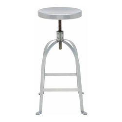 Nuevo Living - Adrienne Adjustable Stool, Set of 2 - Ultramod and metropolitan, here's a sturdy, reliable stainless steel stool that will outlast last call at the bar for years to come. A footed base with floor protection puts it in good standing at your kitchen counter, home office or pub-style table.