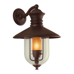 Troy Lighting - Old Town Wall Lantern - Old Town Wall Lantern features an hand-forged and cast iron framework with an old bronze finish. One 60 watt, 120 volt B10 candelabra base incandescent bulb is required, but not included. Small: 10.5 inch width x 16 inch height.  Large: 12.5 inch width x 18.5 inch height.