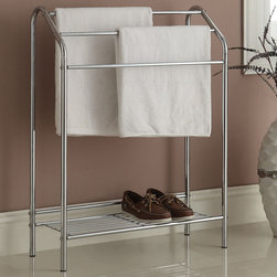 "Acme Furniture - Isra Towel Rack in Chrome - Isra Towel Rack in Chrome; Finish: Chrome; Materials: Metal Tube; Weight: 7.3 lbs; Dimensions: 25"" x 10"" x 34""H"