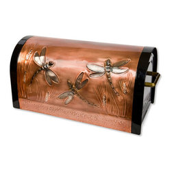 Dragonfly & Wheat Locking Post Mount Copper Mailbox - Copper - Add this beautiful piece of art to your home's front walk.  This locking post mount copper mailbox is hand-embossed with dragonflies flying among stalks of wheat. An outgoing mail section allows you to leave letters for the mail carrier, while incoming mail is secure in a locked section.