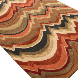 Jaipur Rugs - Hand-Tufted Soft Hand Wool/Art Silk Brown/Red Area Rug (8 x 11) - In rich jewel or sorbet tones, accented with hints of viscose, abstract patterns create a palette of design and color to build a room around.