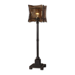 Uttermost - Uttermost Carolyn Kinder Table Lamp in Oil Rubbed Bronze - Shown in picture: Oil Rubbed Bronze Metal. Oil rubbed bronze finish on metal with a square toffee art glass shade.